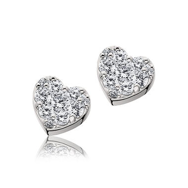 T W Diamond Heart Earrings In 14k White Gold H I I1