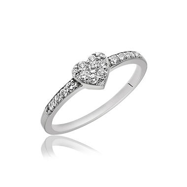 0.25 ct. t.w. Diamond Heart Ring in 14K White Gold (H-I, I1)