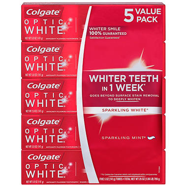 Colgate Optic White Toothpaste, Sparkling Mint (5 oz., 5 pk.)