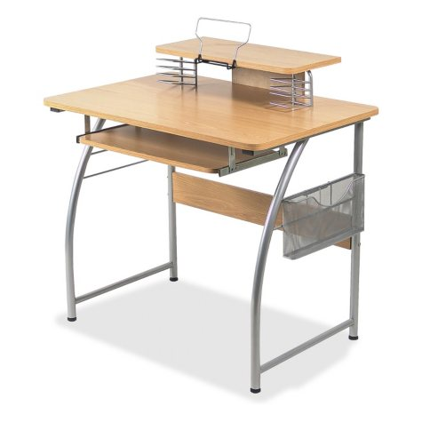 Lorell Laminate Computer Desk with Upper Shelf, Maple