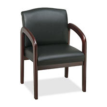 Lorell Deluxe Faux Leather Guest Chair, Black