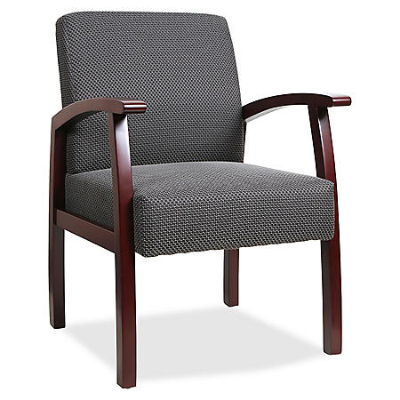 Lorell Deluxe Fabric Guest Chair, Charcoal/Mahogany