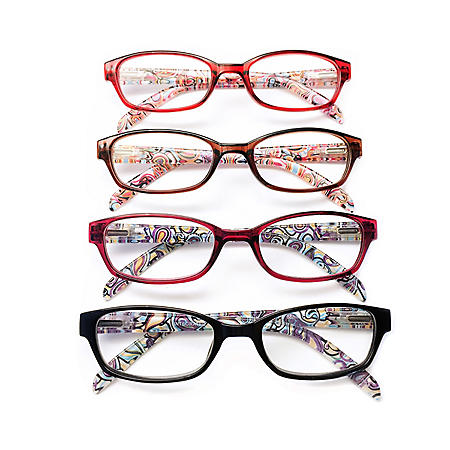 I.Image Women's Plastic 4-Pack Reading Glasses, Select Power