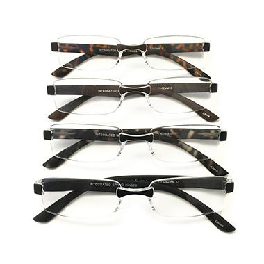 I.Image Men's Rimless 4-Pack Reading Glasses, Select Power