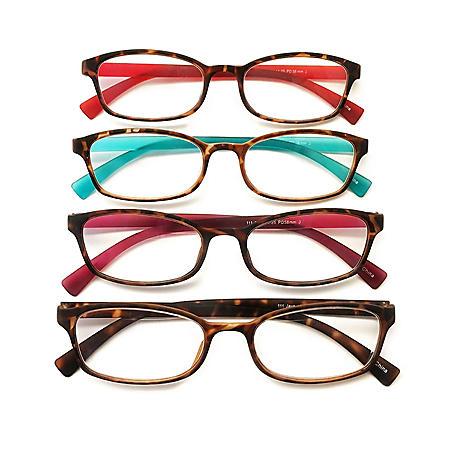 I.Image Women's TR-90 Memory Plastic 4-Pack Reading Glasses, Select Power