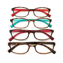 I.Image Women's TR-90 Memory Plastic 4-Pack Reading Glasses, Select Power