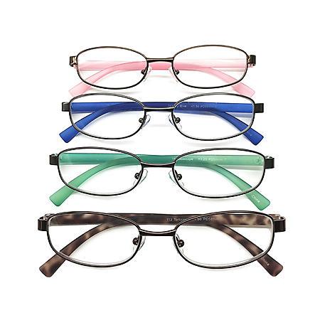 I.Image Women's Metal & TR-90 Memory Plastic 4-Pack Reading Glasses, Select Power