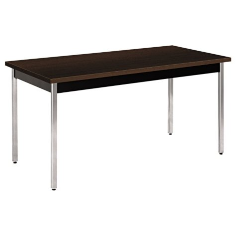"HON 60"" x 30"" Rectangular Utility Table, Mocha/Black"