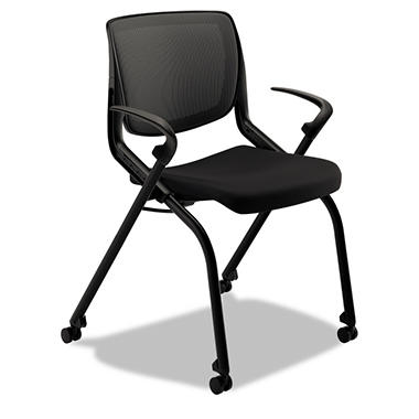 HON Motivate Seating Flex-Back Black Stack Chair, Select Base Color