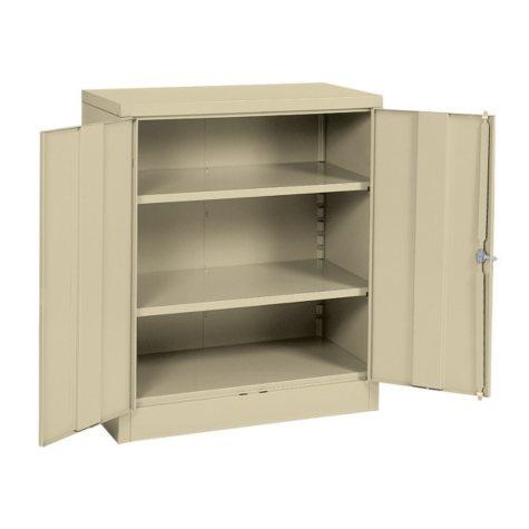 "Sandusky Quick Assembly Steel Counter Height Cabinet - Light Grey - 36""W x 18""D x 42""H"
