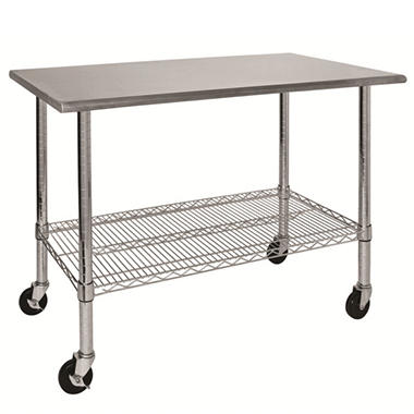 Sandusky Mobile Work Table with Stainless-Steel Top - 48