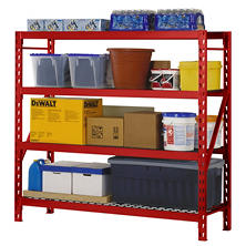 Edsal 4 Level Welded Storage Rack with Adjustable Wire Shelves (Various Colors)