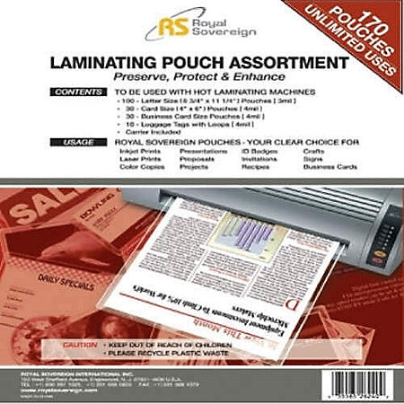 Royal Sovereign - Asst. Laminating Pouches - 170 pk.