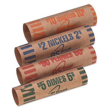 Royal Sovereign - Preformed Tubular Coin Wrappers, 54 Each Pennies/Nickels/Dimes/Quarters -  216/Box