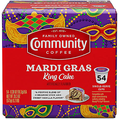 Community Coffee Medium Roast, Mardi Gras King Cake (54 K-Cups)