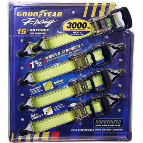 Goodyear Racing Ratchet Tie Downs - 4/15 ft. pack