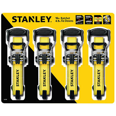 Stanley 16' Ratchet Tie Downs (4 pack)