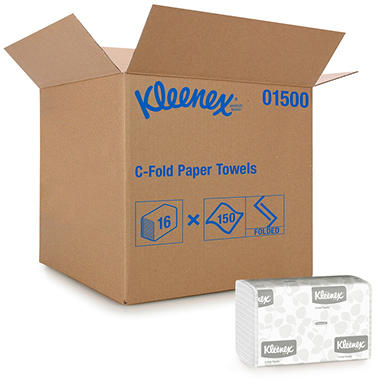 Kimberly-Clark Professional Kleenex C-Fold Paper Towels, 10 1/8 x 13 3/20, White (150/pack, 16 packs/carton)