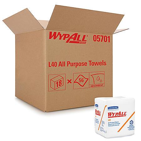 WypAll* - L40 Cloth-Like 1/4-Fold Wipers, 12 1/2 x 12, 56/Box -  18 Packs/Carton