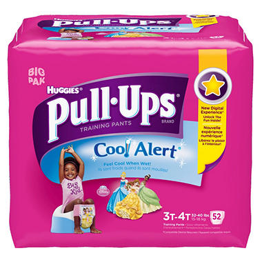 Huggies Pull-Ups Training Pants with Cool Alert for Girls, Size 3T-4T (32-40 lbs.), 52 ct.