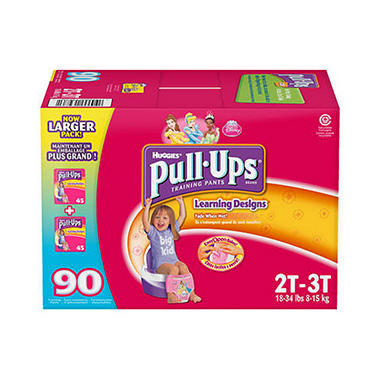 Huggies Pull-Ups Training Pants for Girls, Size 2T-3T (18-34 lbs.), 90 ct.