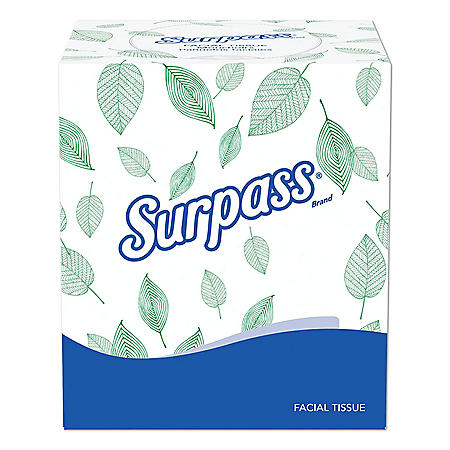 Surpass - Facial Tissue, 2-Ply, Pop-Up Box (110 sheets per box, 36 boxes)