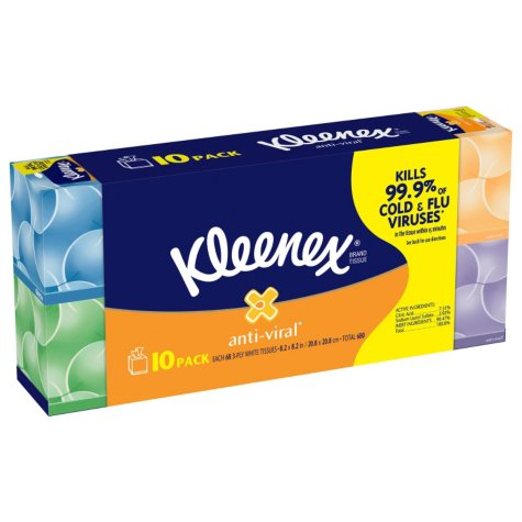 Kleenex Anti-Viral Facial Tissue, (68 sheets, 10pk.)