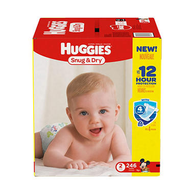 Huggies Snug & Dry Diapers Economy Pack - Size 2 (12-18 lbs.) - 246 ct.