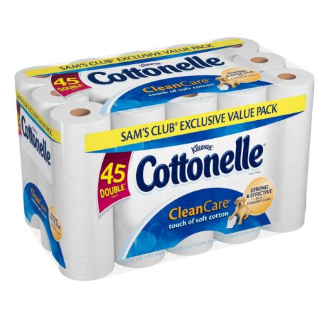 Cottonelle CleanCare Exclusive Value Pack - 45 Double Rolls