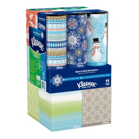 Kleenex Perfect Fit Facial Tissue Combo - 8 with Aloe & Vitamin E & 3 without (11 pk.)