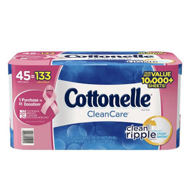 Cottonelle Clean Care Toliet Paper- Breast Cancer Awareness Pack (45 rolls, 228 sheets)