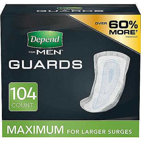 Depend Incontinence Guards for Men, Maximum Absorbency, (104 ct.)