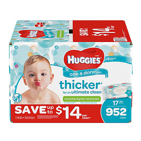 Huggies One & Done Baby Wipes, Scented (952 ct.)