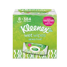 Kleenex Wet Wipes Sensitive With Aloe and Vitamin E for Hands and Face, Flip-top Pack (384 wipes total, 8 pk.)