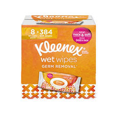 Kleenex Wet Wipes Germ Removal for Hands and Face, Flip-top Pack (384 wipes total, 8 pk.)