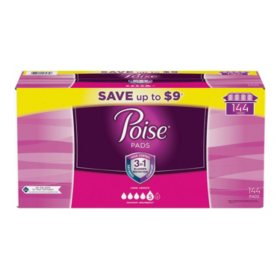 Poise Incontinence Pads, Maximum Absorbency, Long (144 ct.)