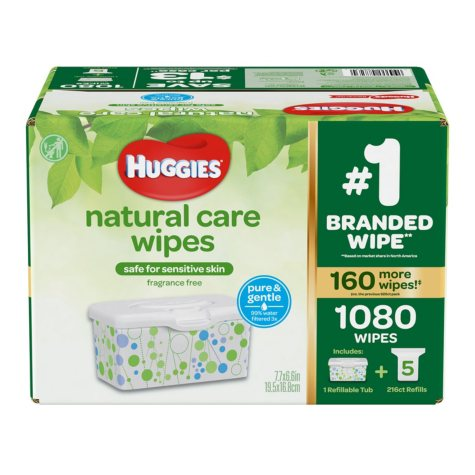 Huggies Natural Care Baby Wipe Refill, Fragrance Free (1,080 ct.)