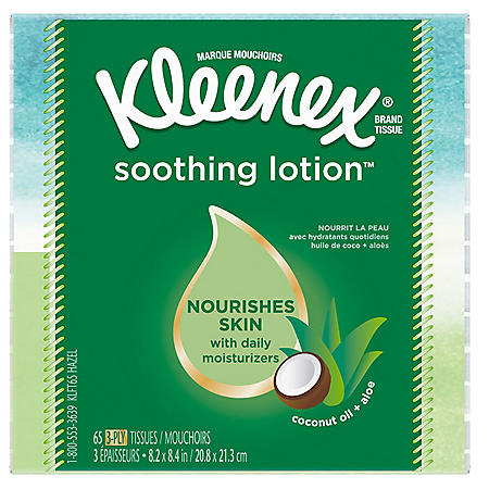 Kleenex Soothing Lotion Facial Tissues with Coconut Oil, Aloe & Vitamin E (18 cube boxes, 65 tissues each)