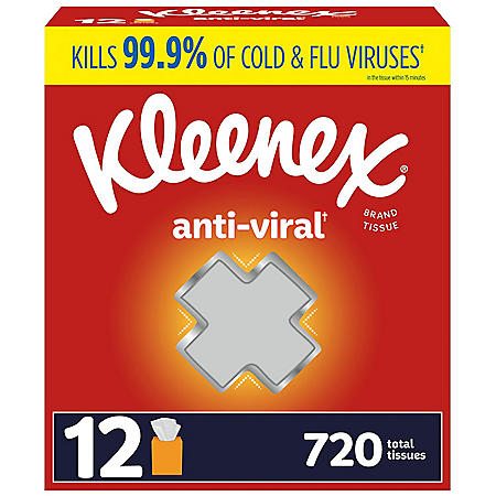 Kleenex Anti-Viral 3-Ply Facial Tissue - Cube boxes (12 pk., 60 tissues)
