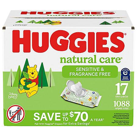 Huggies Natural Care Sensitive Baby Wipe Refill, Fragrance Free (1,088 ct.)