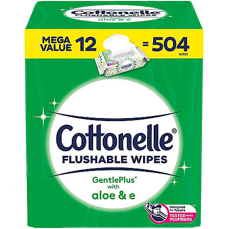 Cottonelle GentlePlus Flushable Wet Wipes with Aloe and Vitamin E (504 ct.)