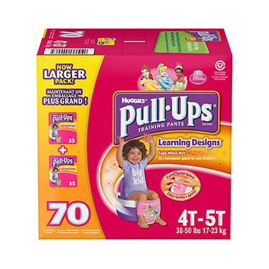 Huggies Pull-Ups Training Pants for Girls, Size 4T-5T (38+ lbs.), 70 ct.