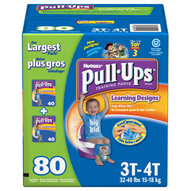 Huggies PULL-UPS Training Pants for Boys, Size 3T-4T (32-40 lbs.), 80 ct.