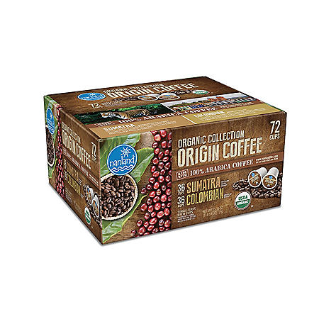 Nanland Organic Collection Origin Coffee Variety Pack Single Serve Pods (0.36 oz. ea., 72 ct.)
