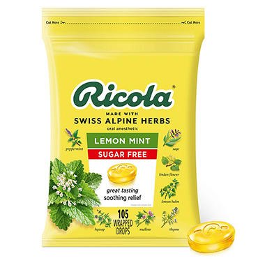 Ricola Sugar-Free Lemon Mint Herb Throat Drops (105 ct.)