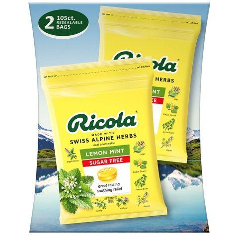 Ricola Sugar-Free Lemon Mint Herb Throat Drops (105 ct.)