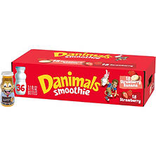 Dannon Danimals Smoothies Strawberry Explosion & Swingin' Strawberry Banana (36 ct.)