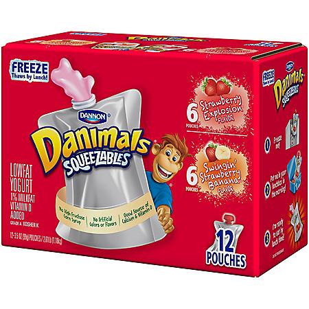 Dannon Danimals Squeezables Low-fat Yogurt Variety Pack (4 oz., 12 pk.)