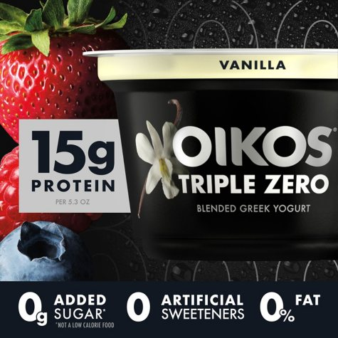 Dannon Oikos Triple Zero Blended Greek Nonfat Yogurt, Variety Pack (5.3 oz., 18 ct.)