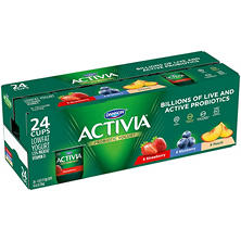 Activia Probiotic Yogurt Strawberry, Blueberry, Peach Assortment (24 pk., 4 oz.)